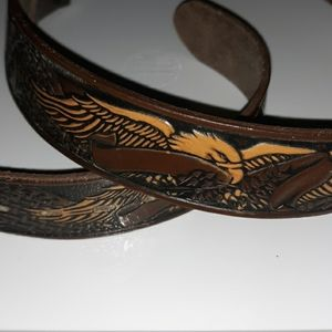 Top Grain Leather Carved Eagle Belt